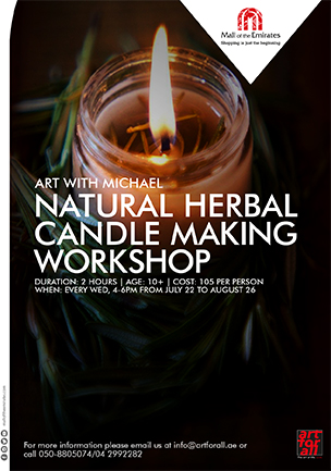 Art with Michael: Natural Herbal Candle Making Workshop poster